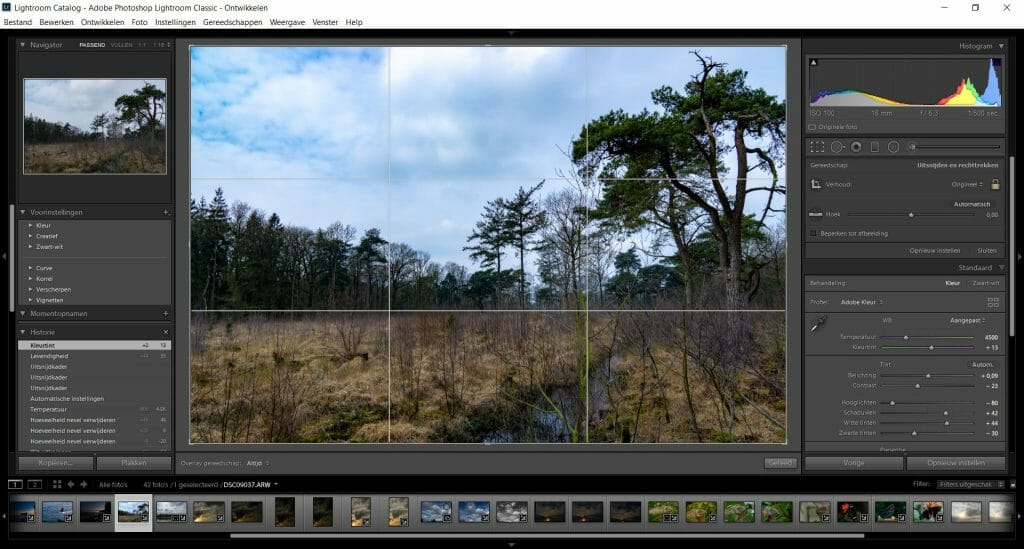 compositie in lightroom interface
